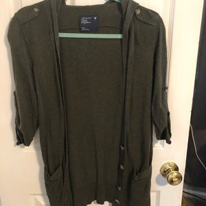 American Eagle army green cardigan